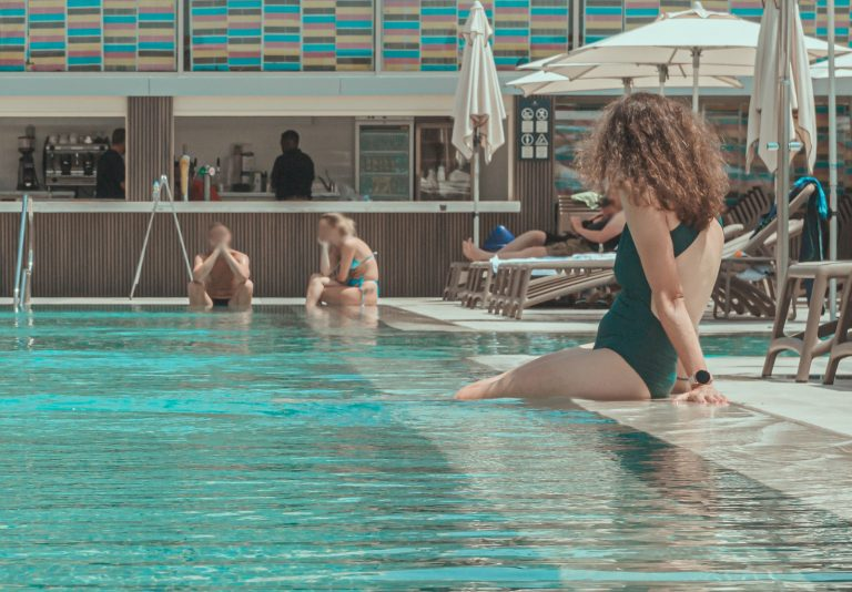 Woman in St hotel pool